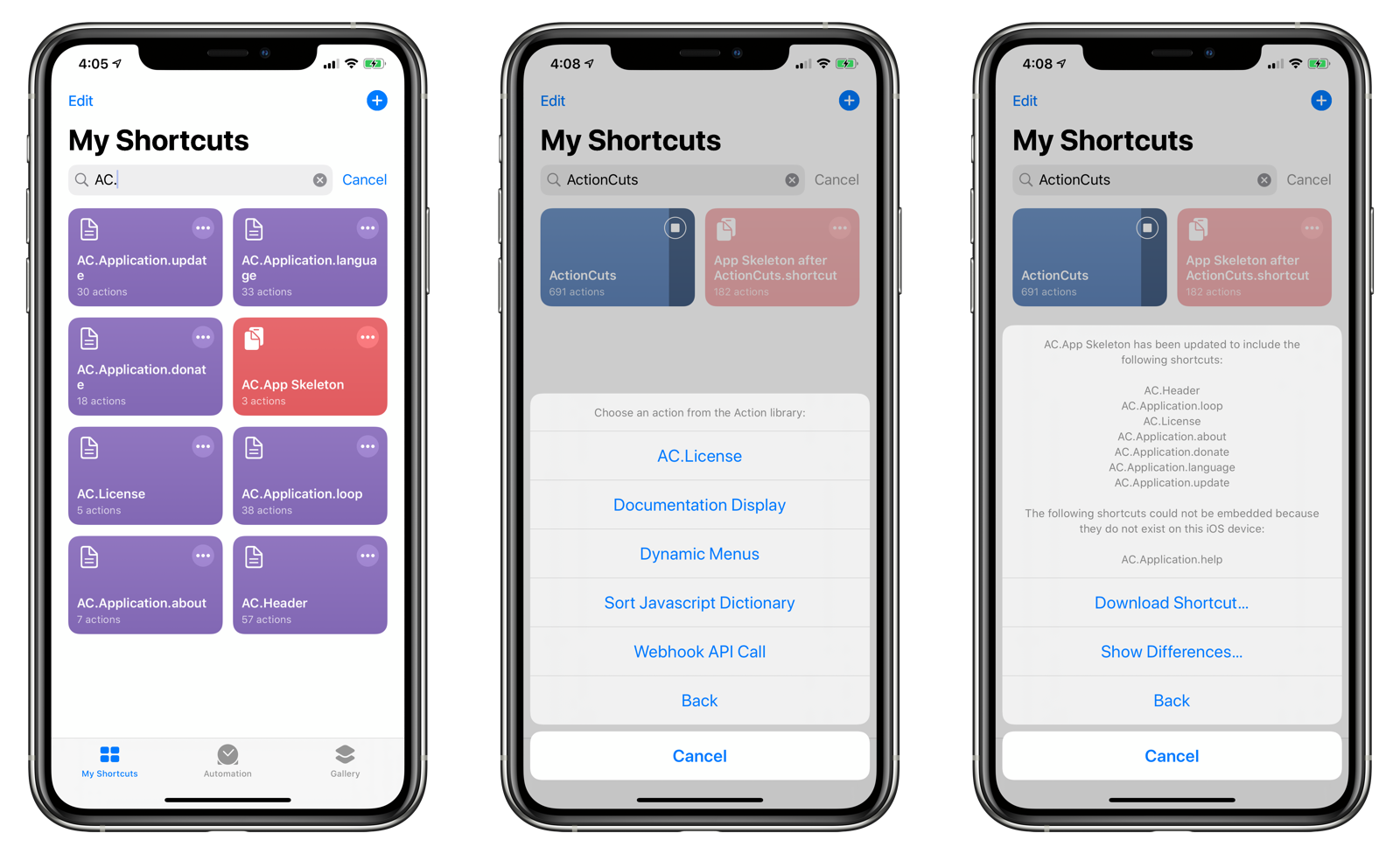 Shortcuts and Action Blocks