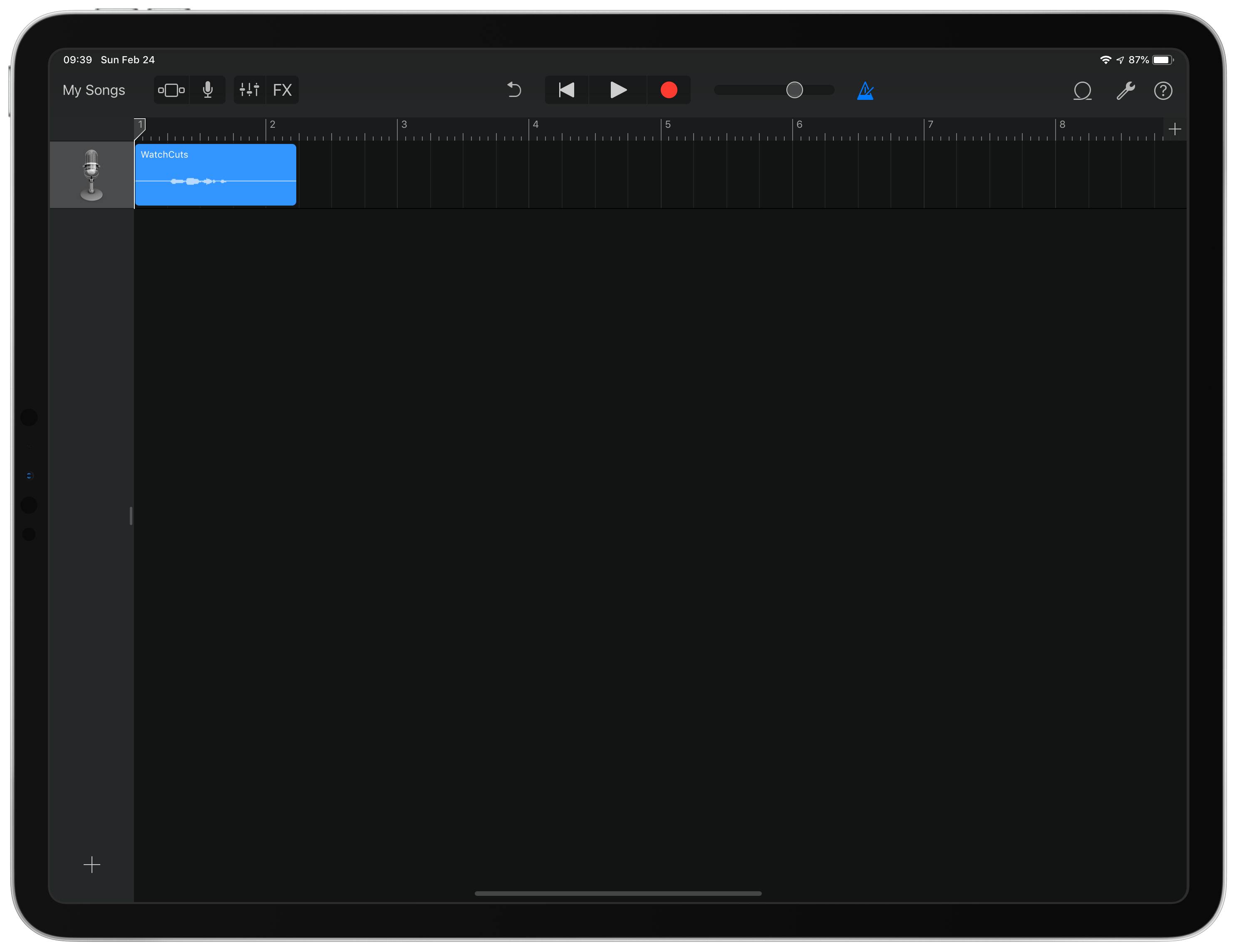 GarageBand File in Track View